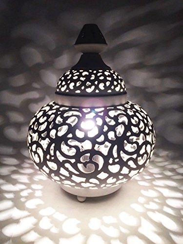 Gold-mosaik-tisch-lampe (Orientalische kleine Tischlampe Lampe Nahla 31cm Weiß E27 | Marokkanische Tischlampen klein aus Metall, Lampenschirm Weiß | Nachttischlampe modern, für Vintage, Retro & Landhaus Stil Design)