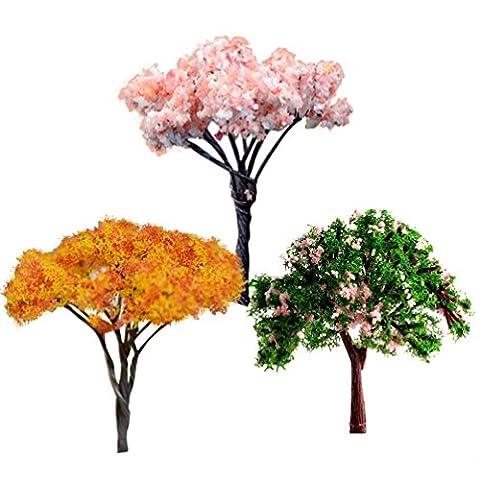 Oshide Dollhouse Miniature bricolage Fleur Arbre Micro Paysage Creative Décoration (3 piecies)