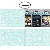 Tinksky Natale Fiocchi di neve Candy Cane decorazione pupazzo di neve PVC smontabile porta finestra Sticker murale decal per il negozio al dettaglio Casa Coffee House Supermarket Dress Shop 3 fogli 72 modelli