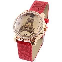 sourcingmap® Eiffel Tower Print Red Watchband Round Dial Wrist Watch for Ladies