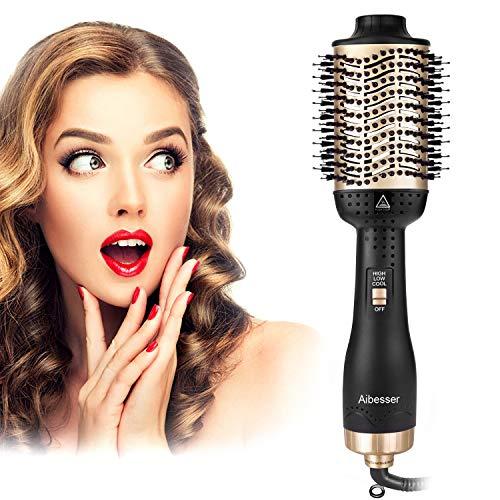 Aibesser Haartrockner, 5 In 1 Upgrade Multifunktions Warmluftbürste Hair Dry & Volumizer Heißluftbürste Negativer Lonic Föhnbürste Haarglätter Bürste Heißluftkamm Lockenwickler für Alle Styling