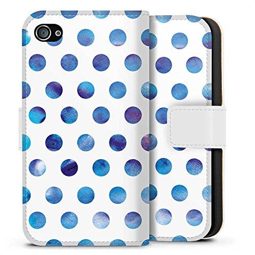 Apple iPhone X Silikon Hülle Case Schutzhülle Punkte Dots Wasserfarbe Sideflip Tasche weiß