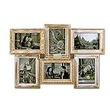 541 3D Bilderrahmen Collage 6 Fotos Fotogalerie Rahmen Antik Weiß Gold
