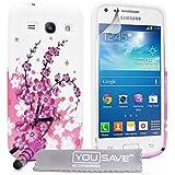 Yousave Accessories Samsung Galaxy Core Plus Hülle Rosa Blumen Biene Silikon Schutzhülle Mit Mini Gr