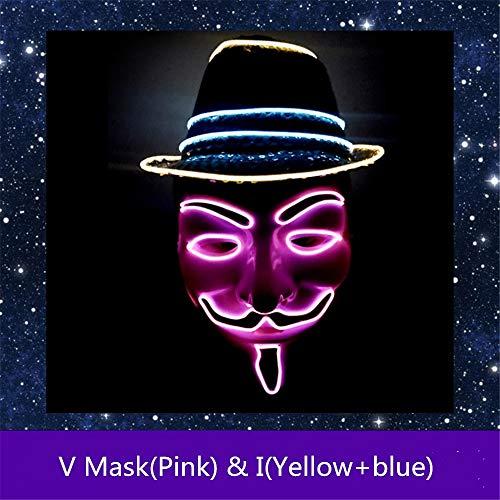 Micchow LED Halloween Masken,Erschreckend LED Light EL Wire -