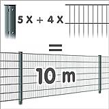 Zaun 10m: 4 Doppelstabmatten + 5 Pfosten 656, Höhe:63cm, Oberfläche:verzinkt - ohne Farbe