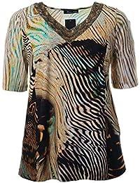 5679d9703b43bc Sempre piu Damen T-Shirt Beige Sand Bunt sehr modern V-Ausschnitt Sommer-