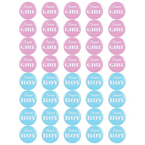t offenbaren Button Pins - 40 Packungen Boy Girl Pinback Button Pins für Team Baby Shower Party Favors, 1,97 Zoll ()