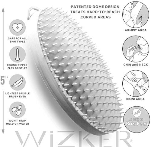 WIZKER Cepillo: Elimina Razor golpes y pelos encarnados, FirmFlex Exfoliante cerdas, caja sellada