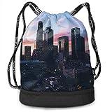 ewtretr Bolsos De Gimnasio Los Angeles City Drawstring Bags Sack Pack Cinch Storage Bag for...
