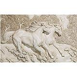 Qqasd Benutzerdefinierte Größe Tapete 3D Fototapete Wohnzimmer Wandbild 3D Weiß Weiße Pferd Moderne Malerei Sofa Tv Hintergrund Wandaufkleber-140X110CM