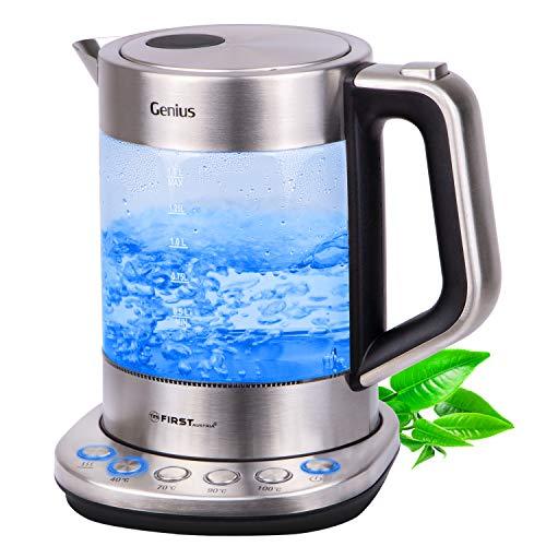 TZS First Austria - Glaswasserkocher mit Temperatureinstellung, Temperaturwahl 40 Grad für Babynahrung, 70, 90, 100 Grad, Warmhaltefunktion, Glas Edelstahl, LED, BPA frei, Wasserkocher