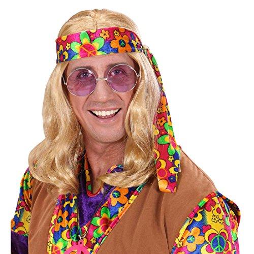 70er Jahre Hippie Perücke blond Hippieperrücke Kunsthaarperücke Herrenperücke Flower Power Faschingsperücke Karnevalsperücke