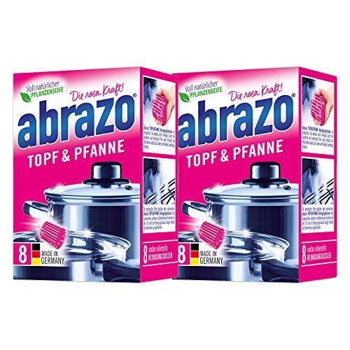 abrazo Topf&Pfanne Reinigungskissen Reinigungs-Schwamm Topfreiniger Grillreiniger & Backofen-Reiniger Stahlwolle 2x8 St