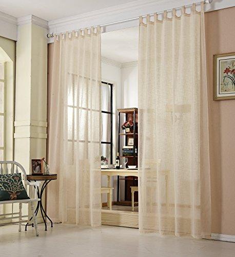 ... WOLTU VH5864sd, Gardinen Transparent Mit Schlaufen Leinen Landhaus  Optik, Schlaufenschal Vorhang Stores Voile Fensterschal