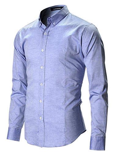 FLATSEVEN Herren Slim Fit Freizeit Oxford Button Down Hemd Langarm (SH611) Blau, XL