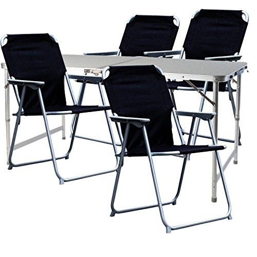Mojawo  5-teiliges Campingmöbel Set Alu 120x60x58/70cm 1x XXL Campingtisch mit Tragegriff + 4 Campingstühle schwarz Stoff Oxfort