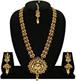 #7: Matushri Art Indian Traditional Temple Jewelry of God Laxmi with Elephant Necklace Set for Women and Girls