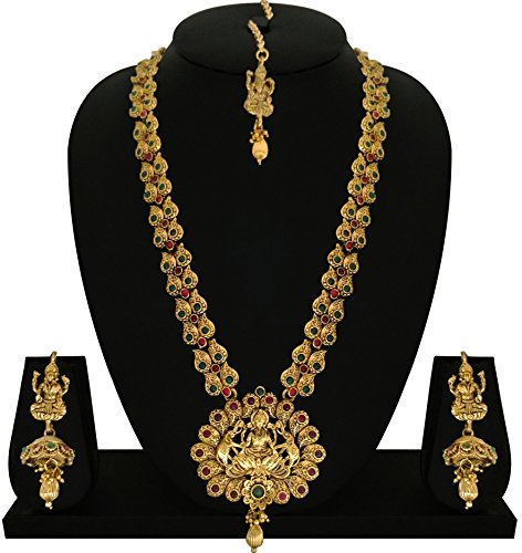 Matushri Art Indian Traditional Temple Jewelry of God Laxmi with Elephant Necklace Set for Women and Girls