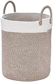 La Jolíe Muse Aufbewahrungskorb Wäschekorb aus Baumwolle Seil, Wäschesammler, Stabil und Haltbar, mit Griff, Für Wohnzimmer K