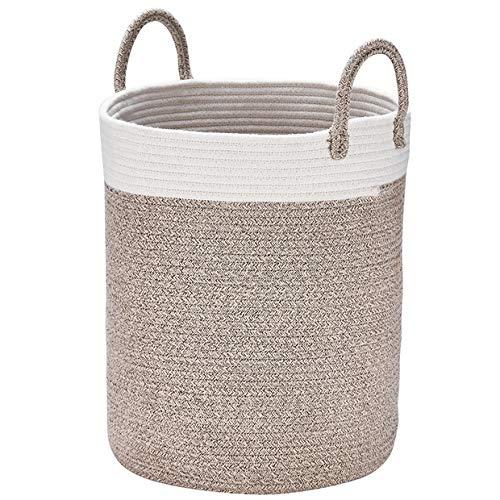 Aufbewahrungskorb Wäschekorb aus Baumwolle Seil, H38 x D32cm Stabil und Haltbar, Für Wohnzimmer Kinderzimmer Badzimmer