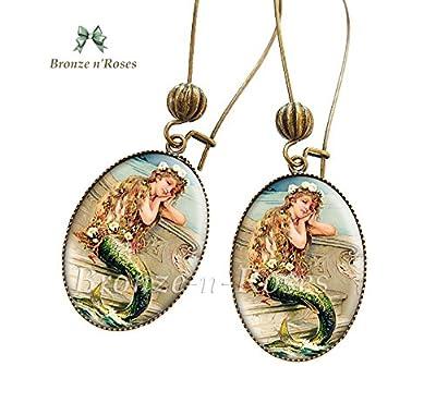 Boucles d'oreilles Jolie Sirène fille cabochon mer Mermaid bijou vintage