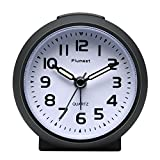 Small Clock, Plumeet Non Ticking Travel Alarm Clock with Snooze and Nightlight, Cute