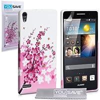Yousave Accessories® Huawei Ascend P6 Tasche Rosa/Weiß Silikon Gel Blumen Biene Hülle