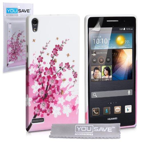 huawei-ascend-p6-tasche-rosa-weiss-silikon-gel-blumen-biene-hulle
