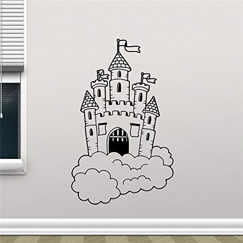 hllhpc Schloss Wandtattoo Magic Fairy Kingdom Schloss In Wolken Kinderzimmer Wanddekor Kunst Wohnkultur Kinder Mädchen Zimmer Wandaufkleber 51 * 83 cm