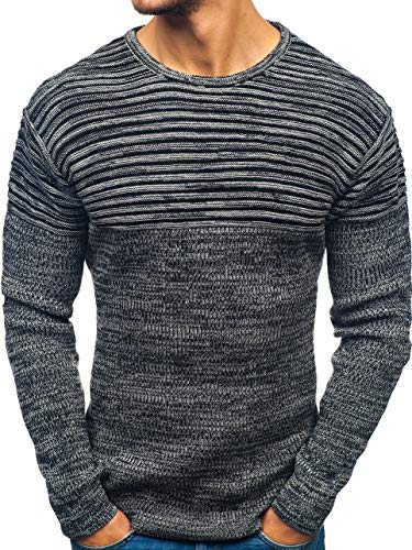 BOLF Herren Pullover Strickjacke Strickpullover Oberbekleidung Casual Style OXCID 156 Dunkelgrau S [5E5] | 05902646951300