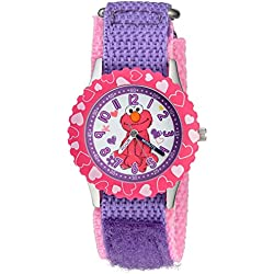 eWatchFactory Girl's 'Sesame Street' Quartz Stainless Steel and Nylon Automatic Watch, Color:Purple (Model: W003188)