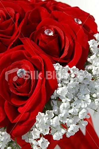 Red White Wedding Bouquet, Rose and Gypsophila Wedding Flowers