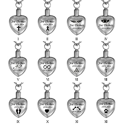 "HooAMI ""Forever in my heart Pet Paw Heart Urn Pendant Necklace- Memorial Ashes Keepsake - Cremation Jewellery (Normal) 3"