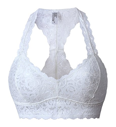Camellias Damen Sexy Spitze Bralette Comfort V-neck Bra Crop Top Push up Atmungsaktiv BH Weiß,UK-SZ5509-White-S
