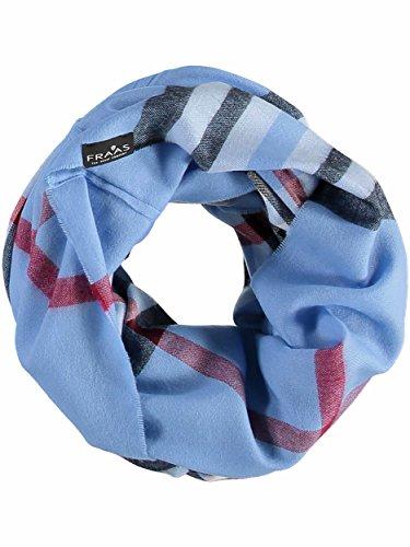FRAAS Damen-Loop-Schal kariert - Made in Germany - stilvoller Schlauch-Schal mit Karo-Muster - leichtes Rund-Tuch - karierter Snood-Schal Blau