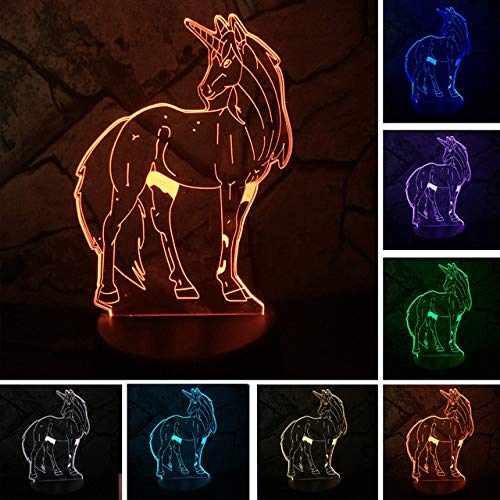 Luz de noche 3d Animal Kawaii Unicornio LED 3D LÁMPARA NOCHE LUZ Multicolor RGB Bombilla Navidad Regalo decorativo Juguetes de dibujos animados