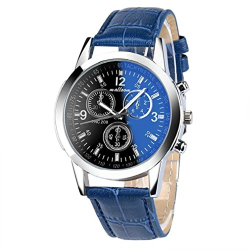 Fittingran uomo casual business dress orologio impermeabile classic analogico al quarzo orologi da uomo orologio sportivo da uomo (blu-a)