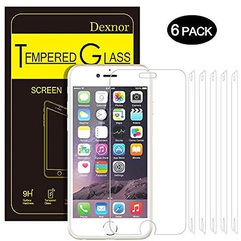 iPhone 6 6s Panzerglas, [6 Stück] Dexnor iPhone 6 6S Schutzfolie Displayschutzfolie Glas Folie Anti-Fingerabdruck Anti-Kratz Glasfolie Panzerfolie 9H Härte, 0.33mm, 99% Transparent, 2.5D Kanten, 3D Touch Kompatibel
