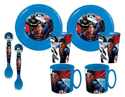 Batman V Superman Duplo - Set di 2 piatti, 2 bicchieri, 2 ciotole e 2 tazze