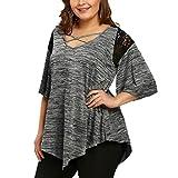 JUTOO Mode Dawomen Plus Größe Tunika Spitze T-Shirt Bluse Top