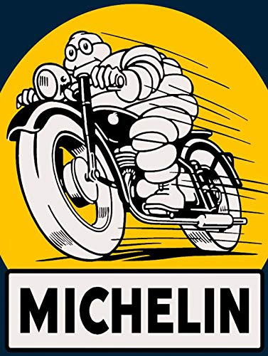 LAUGH WELL Michelin Motorbike Cartel Chapa metálica