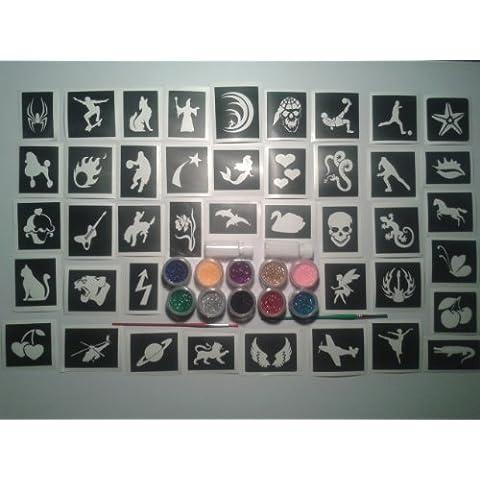 200 plantillas para tatuaje tatuajes brillo / arte de cuerpo de las muchachas del aerógrafo