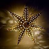 Papierstern Weihnachtsstern Leuchtstern Stern 45cm Weiss LED Adventstern (449)