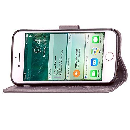 Gray Plaid Design Goffratura Quattro Foglie Trifoglio [Chiusura Magnetica] [Shock-Absorption] PU Flip Card Holder Protettiva Portafoglio Wallet Case Cover Custodia per iPhone 7 - Azzurro grigio
