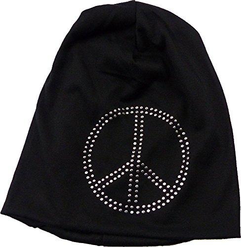 Bonnet pour homme bonnet pour femme Noir avec Strass Peace Black long Bonnet Casquette Strass plastique noir Bonnet motif PEACE and LOVE Urban Bonnet Killer Chill Wear Summer Noir 4831