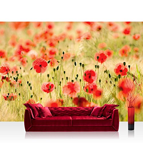 Vlies Fototapete 350x245 cm PREMIUM PLUS Wand Foto Tapete Wand Bild Vliestapete - DREAM OF POPPIES -...