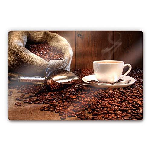 Glasbild Kaffeegenuss Kaffee Kaffeebohnen Café Genuss Heißgetränk Wall-Art - 100x70 cm
