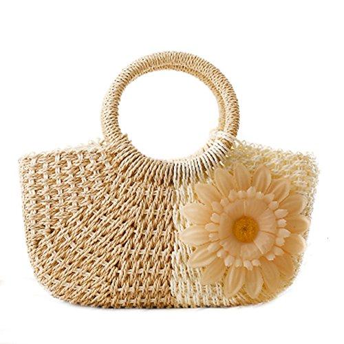 DELEY Damen Lässige Sonnenblume Stroh Gestrickte Strand Beutel Handtasche Meer Urlaub Hobo Bag Beige