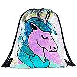 Sirena paillettes coulisse zaino Glittering Outdoor borsa a tracolla, Magic reversibile Dance bag Fashion Bling Shining, borsa sportiva zaino, Unicorn